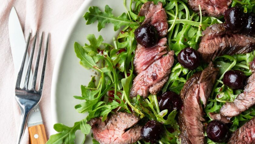 Warm Steak Salad with Sherried Cherries