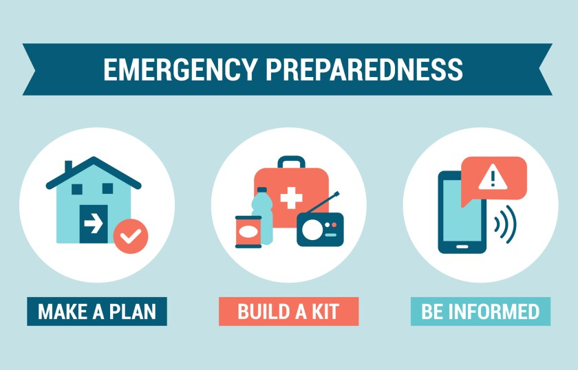 emergency prep symbols - kit, phone, plan