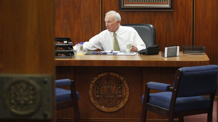 Mayor Jerry Sanders, shown here during his last days in office, did not sign a renewal contract for the city's Tourism Marketing District before he departed.
