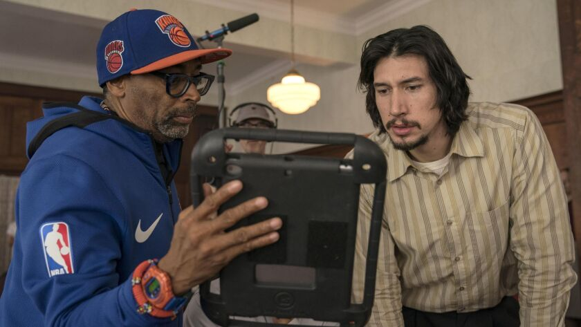 "Lee and one of the film's stars, Adam Driver, on the set of Lee's ""BlacKkKlansman"" movie."
