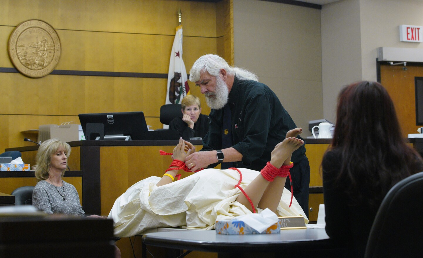 On day-five in the civil trial for the wrongful death of Rebecca Zahau in San Diego Superior Court, Lindsey Philpott appeared in court for the plaintiff as an forensic knot analyst. Philpott was asked by the plaintiff attorney to replicate the knots found on Zahau's body to be tied on the mannequin.