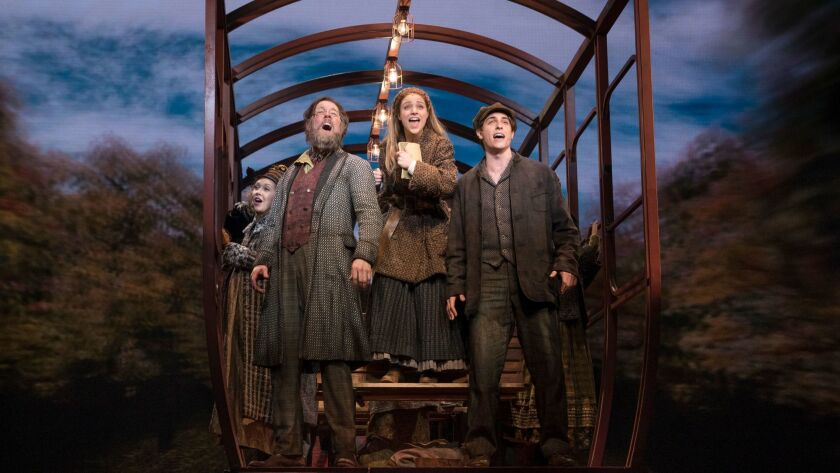 """John Bolton, Christy Altomare and Derek Klena (from left) in the Broadway production of """"Anastasia."""""""