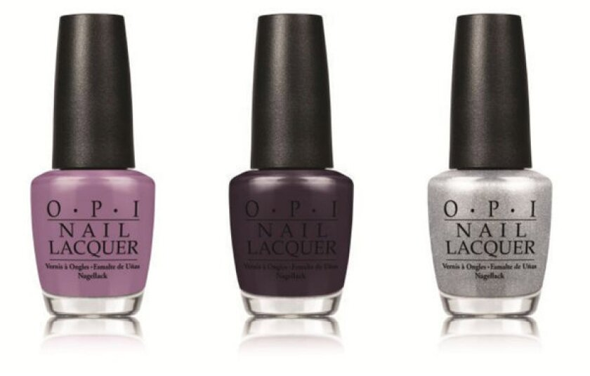 """OPI's limited-edition nail lacquer shades inspired by the Miss Universe pageant include, from left, """"I'm Feeling Sashy,"""" """"Miss You-niverse"""" and """"This Gown Needs a Crown."""""""