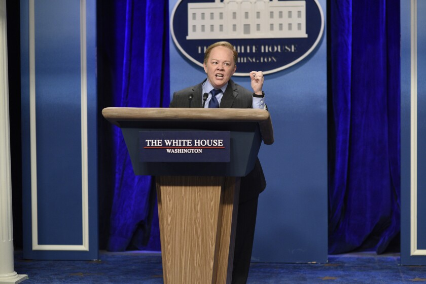 """Melissa McCarthy as Press Secretary Sean Spicer during the """"Sean Spicer Press Conference"""" sketch on """"Saturday Night Live"""" on Feb. 4."""
