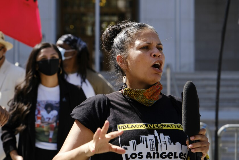 Melina Abdullah speaks during a Black Lives Matter protest