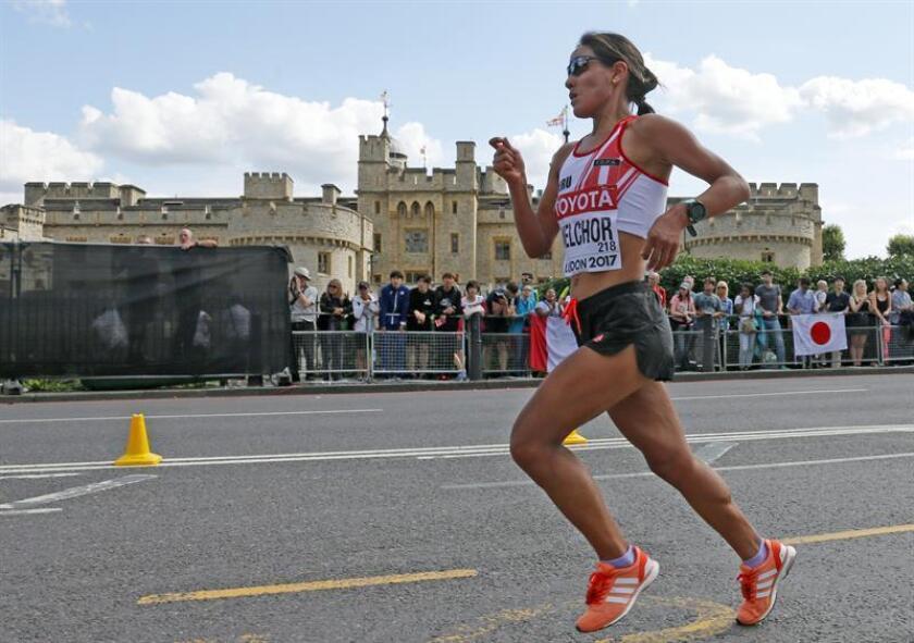 La peruana Inés Melchor durante la prueba de maratón, en el Campeonato Mundial de Atletismo. EFE/Archivo