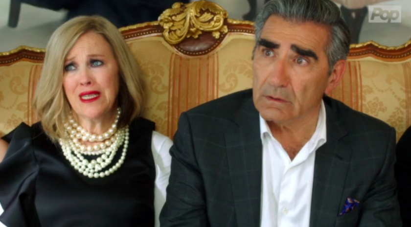 "Catherine O'Hara and Eugene Levy as Moira and Johnny Rose in ""Schitt's Creek."""