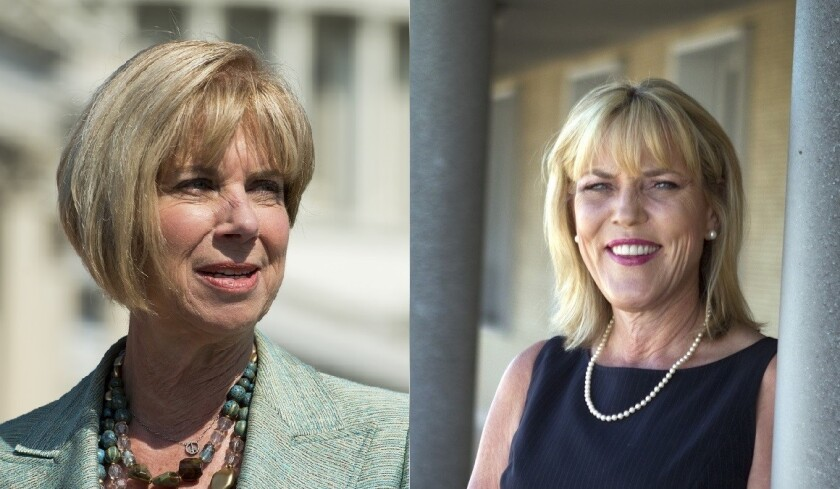 Janice Hahn, left, and Kathryn Barger led their primary races for seats on the Los Angeles County Board of Supervisors.