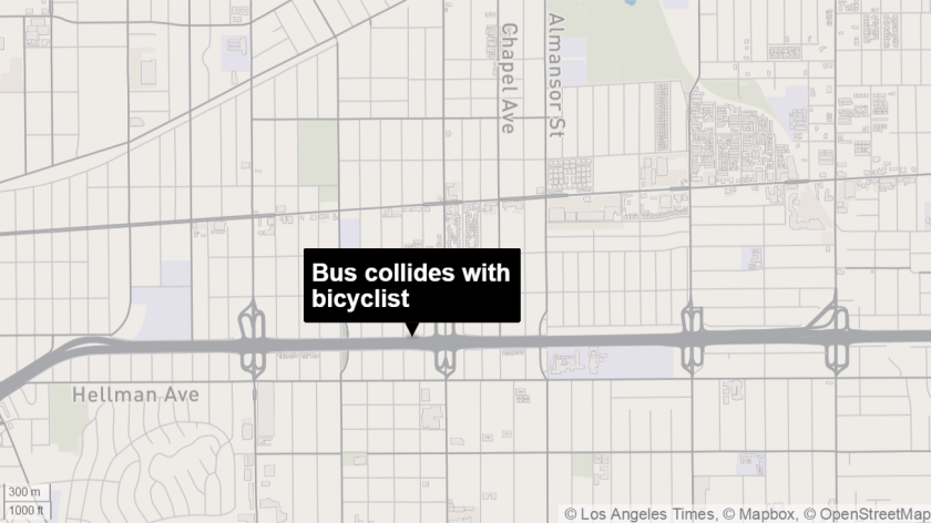A bicyclist was killed early Sunday morning after being struck by a transit bus on the 10 Freeway near Alhambra.