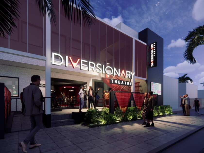 A rendering of the new facade for Diversionary Theatre in University Heights.