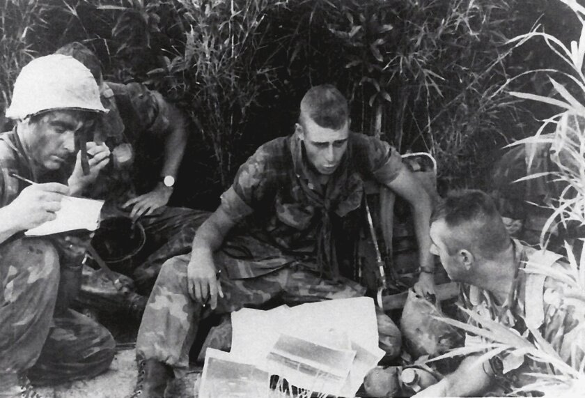 Okinawa, Japan: Maj. Gen. Spiese briefs platoon commanders as Commanding Officer (CO) of L Company, 3rd Battalion, 4th Marines. Courtesy of Maj. Gen. Melvin Spiese