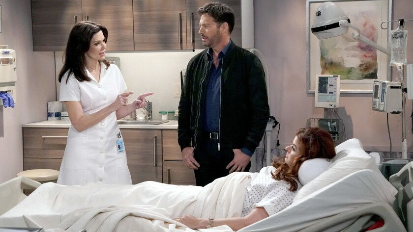 """Laura Kightlinger, left, Harry Connick Jr. and Debra Messing in """"Will & Grace"""" on NBC."""