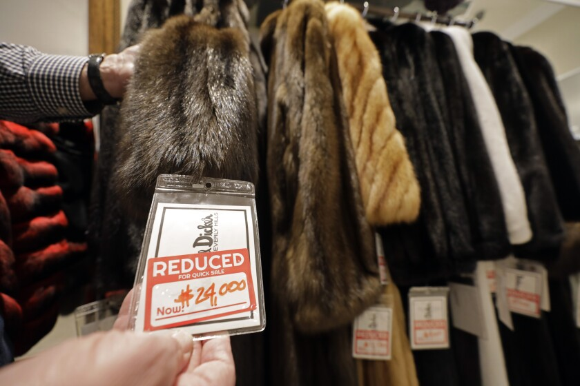 A Russian sable coat is on sale for $24,000, reduced from $69,999, as part of the going out of business sale at Dicker and Dicker of Beverly Hills.