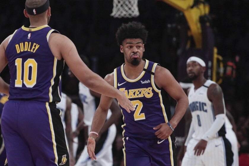 Quinn Cook reacts after making one of four three-point shots against the Magic.