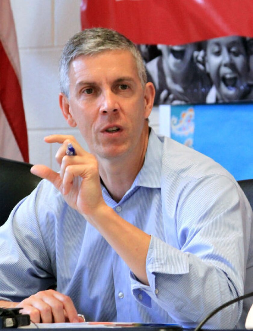 U.S. Secretary of Education Arne Duncan said he opposes California's proposed testing plan.