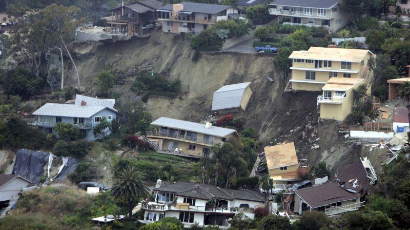 A deep-seated landslide struck Bluebird Canyon of Laguna Beach in 2005.