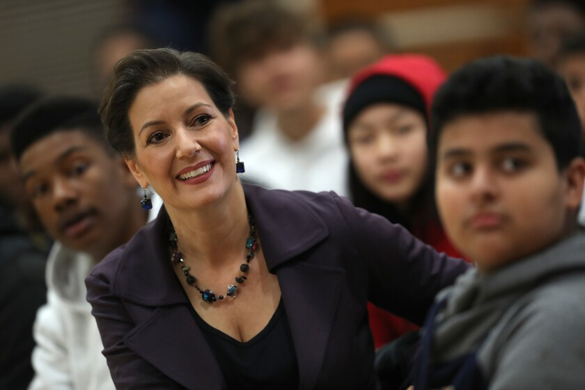 Oakland Mayor Libby Schaaf at an assembly at Edna Brewer Middle School in Oakland, Calif., in 2018.