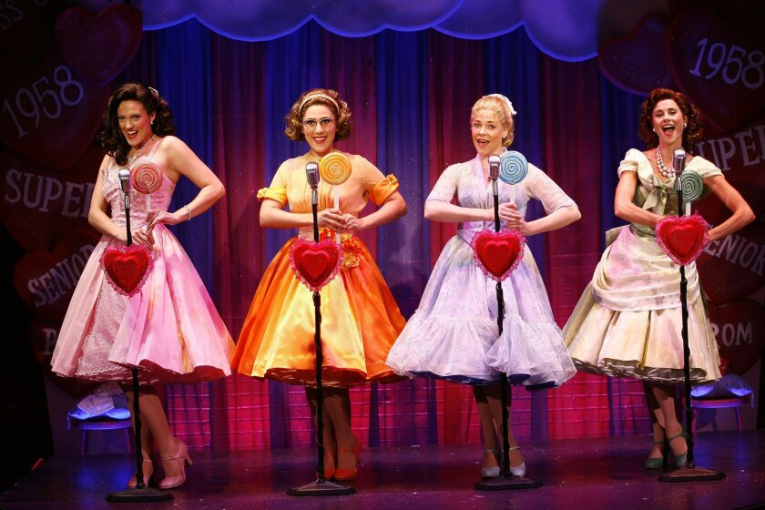 "Victoria Matlock, Farah Alvin, Vista native Bets Malone and Beth Malone (left to right) in the off-Broadway staging of ""The Marvelous Wonderettes."" The two Malones (who are unrelated) both appear in San Diego Musical Theatre's production of ""Wonderettes"" at the Birch North Park Theatre."