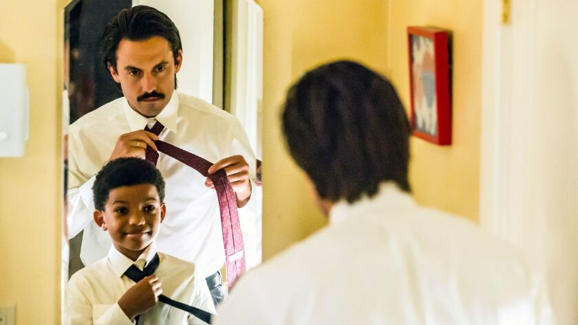 """Lonnie Chavis, left, as Randall and Milo Ventimiglia as Jack in the """"Career Days"""" episode of NBC's """""""