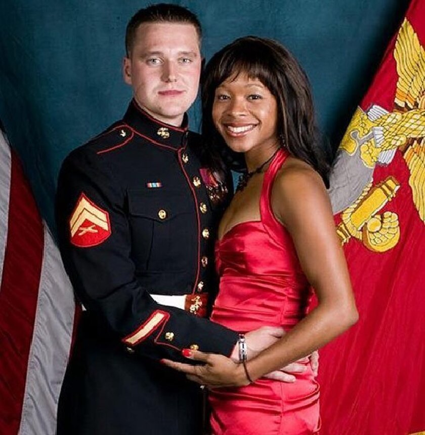 Marine Sgt. Jan Pietrzak and his wife, Quiana 