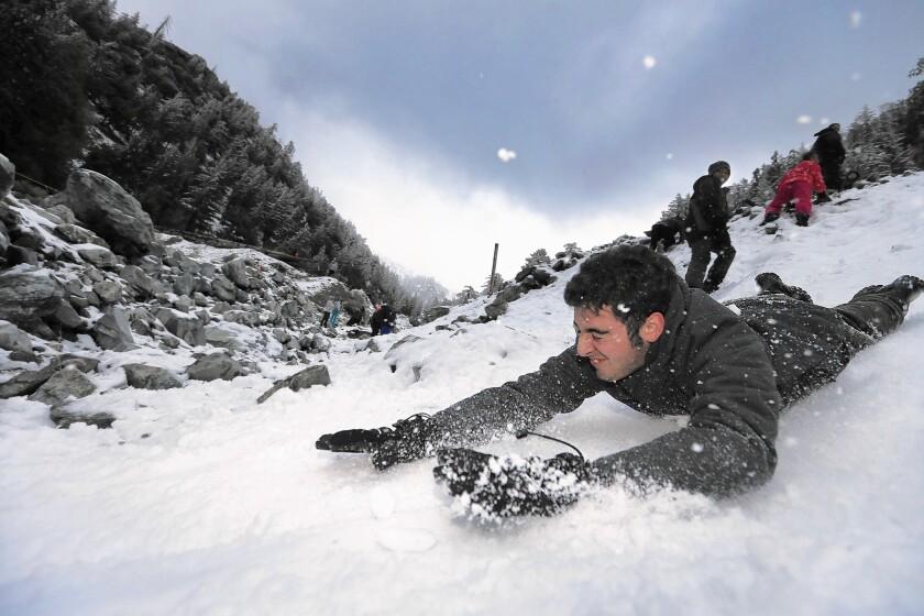 Sliding on the snow