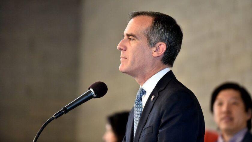 Los Angeles Mayor Eric Garcetti gives a speech on Feb. 12 in Westlake.