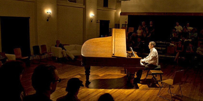 """Pianist Scott Dunn plays during the performance of Jacaranda's """"Cage 100"""" Vexations at the Miles Memorial Playhouse in Santa Monica."""