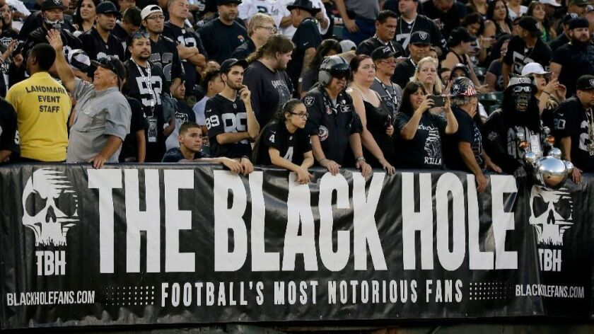 Raiders fans look on during the first half of a game at the Oakland-Alameda County Coliseum on Aug.