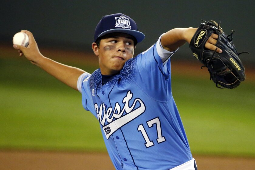 Levi Mendez of Bonita, Calif., delivers during the first inning of an United States elimination baseball game against Cranston, R.I., at the Little League World Series tournament in South Williamsport, Pa., Monday, Aug. 24, 2015. (AP Photo/Gene J. Puskar)