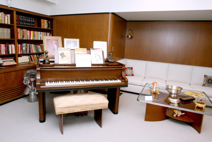 Piano in corner of Walt Disney's restored office suite