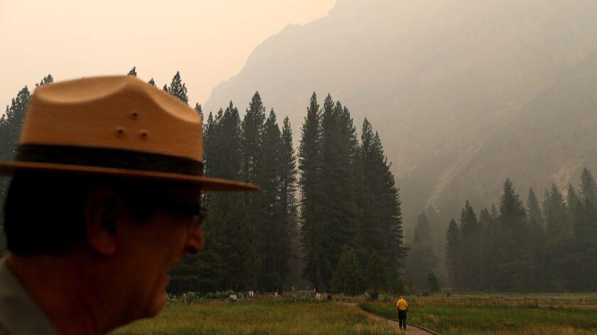 Scott Gediman, public affairs officer at Yosemite National Park, at smoky Stoneman Meadow in Yosemite Valley.