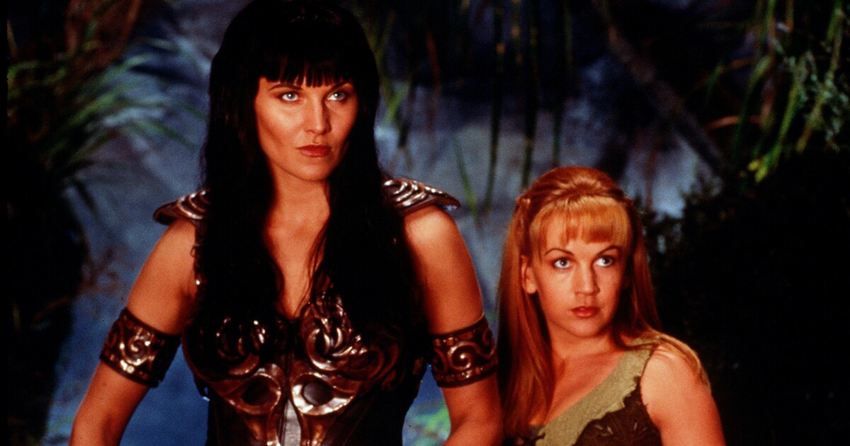 Lucy Lawless looks a million miles away from her Xena character
