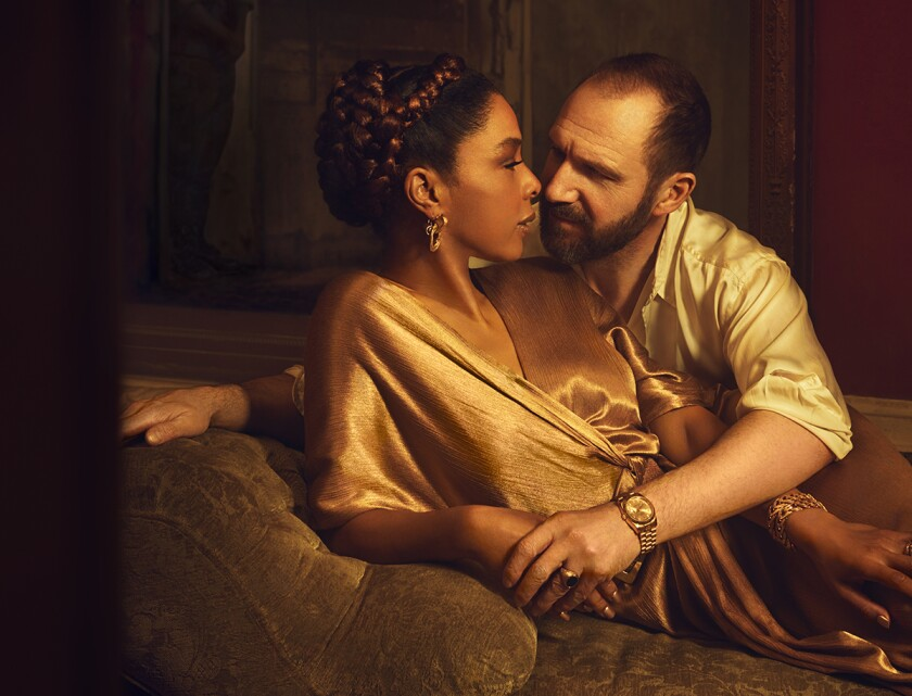 "Ralph Fiennes and Sophie Okonedo in the National Theatre's 2018-19 staging of Shakespeare's ""Antony & Cleopatra."""