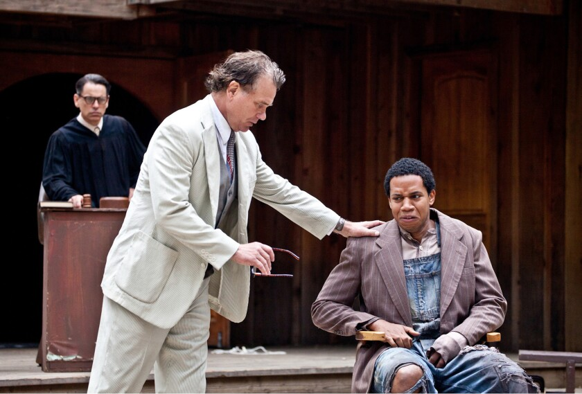 """Mark Lewis, Richard Tyson and Max Lawrence in """"To Kill a Mockingbird"""" at the Theatricum Bontanicum in Topanga Canyon."""