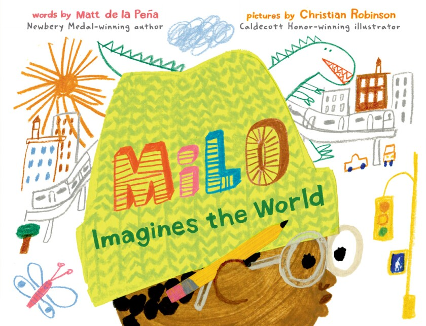 "The cover of the picture book ""Milo Imagines the World."""