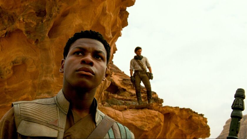 "This image released by Lucasfilm Ltd. shows John Boyega as Finn in a scene from ""Star Wars: Episode"