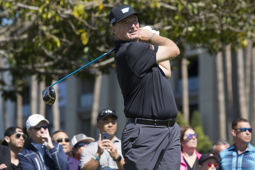 Ernie Els tees off during the final round of the Hoag Classic at Newport Beach Country Club on Sunday.