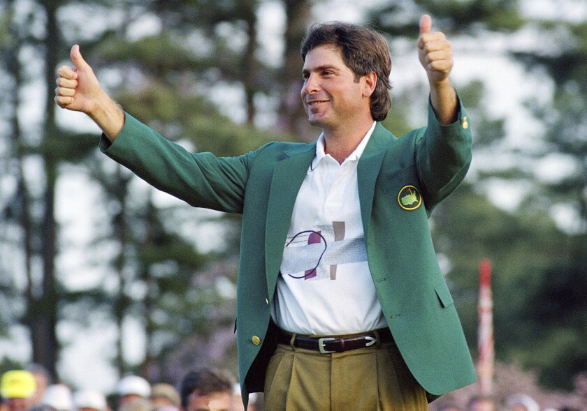 Fred Couples celebrates after winning the Masters in 1992.