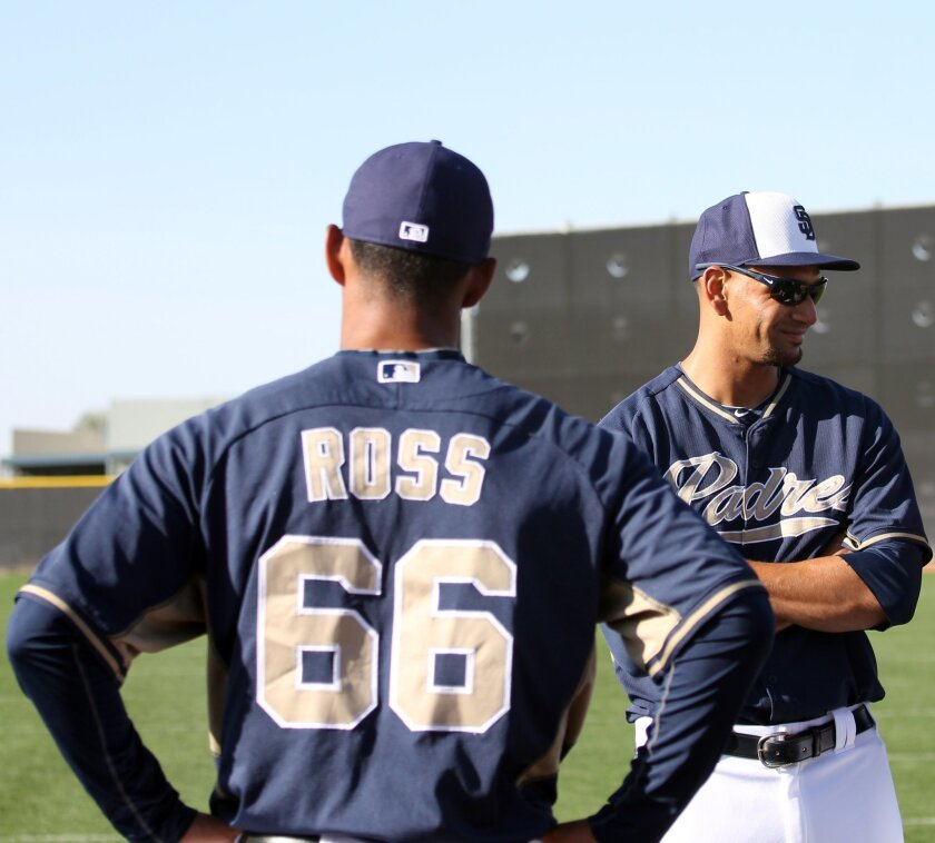 Tyson Ross, right, and brother Joe Ross (66), pictured when both were at Padres spring training in Peoria, Ariz., were reunited Saturday when Joe made his major league debut with the Nationals in Washington.