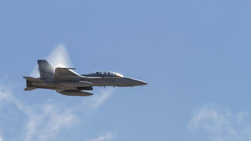 The F/A-18 Hornet, shown during a flight in October 2015 at the Miramar Air Show, is the backbone fighter jet for the Navy and Marine Corps.