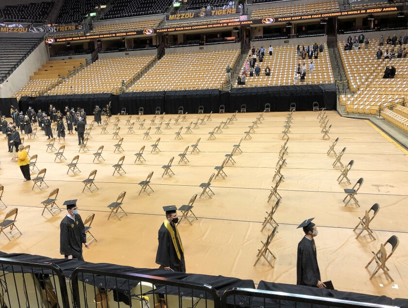 Inside the Hearnes Center at the University of Missouri where a make-up graduation ceremony for the class of 2020 was held.