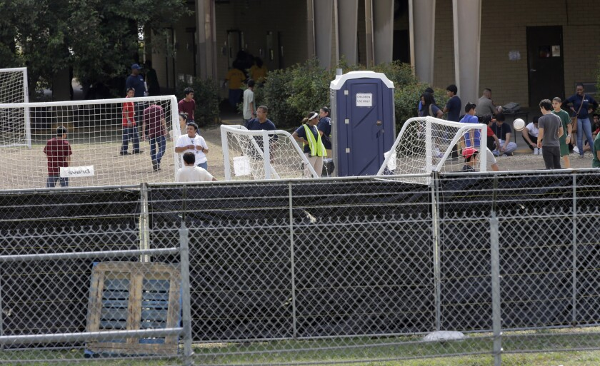 A temporary shelter for unaccompanied minors who have entered the country illegally is seen at Lackland Air Force Base.