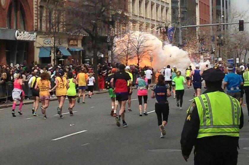 Explosion at the 117th Boston Marathon, Boston, America - 15 Apr 2013..