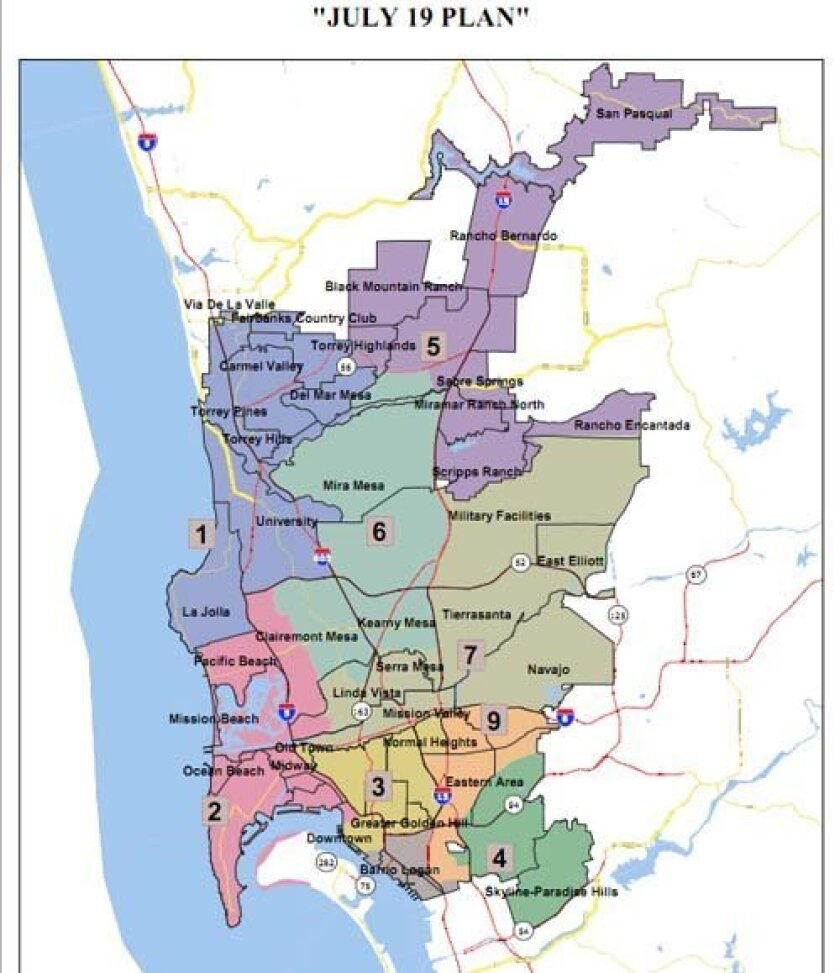 Preliminary map shows recommended council district boundaries. Courtesy: City of San Diego