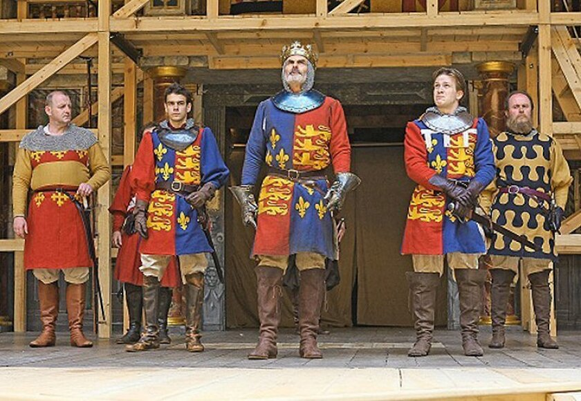 Left to right: Sean Kearns (Warwick), Joseph Timms (John of Lancaster), Oliver Cotton (King Henry IV), Jamie Parker (Prince Hal), and Patrick Brennan (Sir Walter Blunt) in Shakespeare's Globe's production of Henry IV Part 1, in movie theaters August 1st.  Photo credit: John Haynes