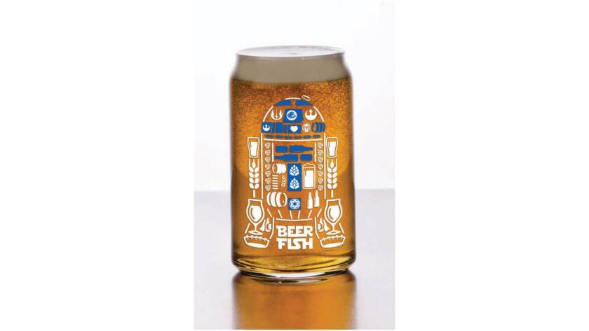 Specialty glass celebrating May the Fourth Be With You from Beerfish in Normal Heights.