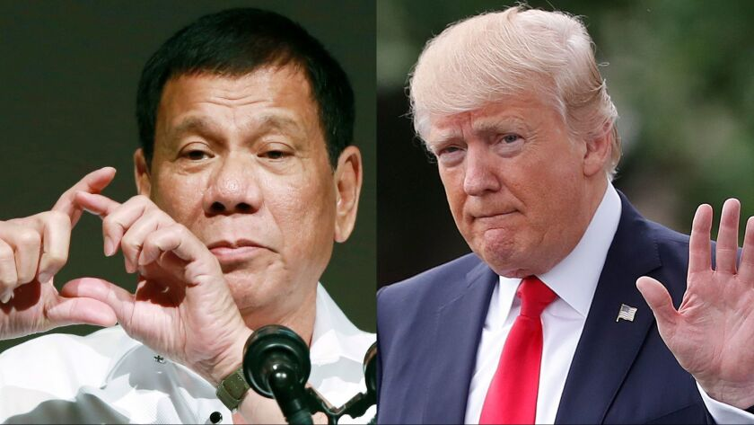 An invitation to Philippine President Rodrigo Duterte, left, from President Trump to visit the White House has outraged human rights officials.