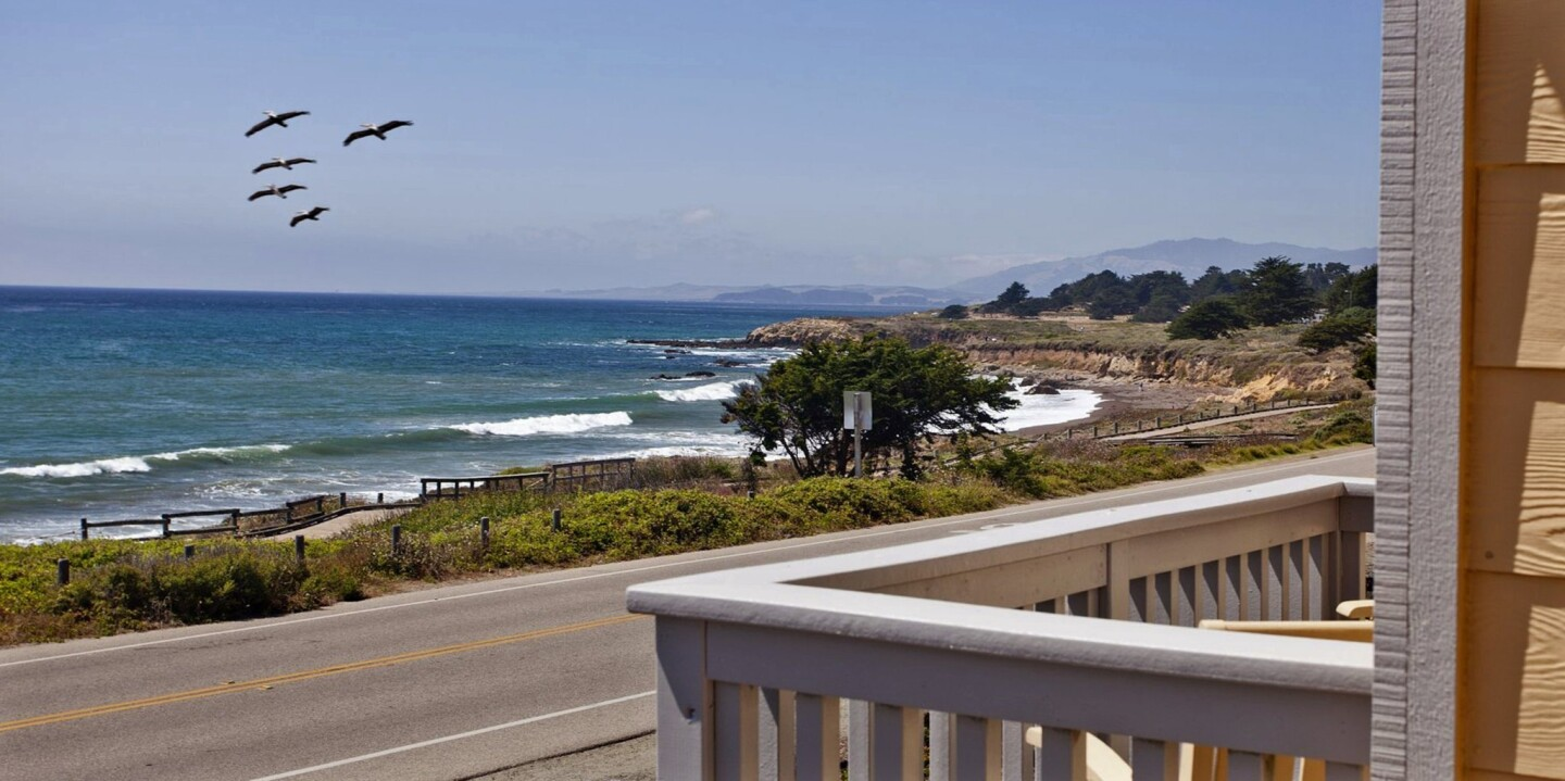 Pelican Inn & Suites in Cambria is nestled among a seaside strip of quaint cottages and features in-room fireplaces and a heated swimming pool.