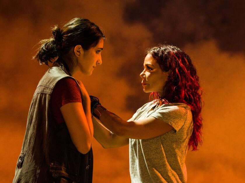 "Krystina Alabado (left) and Daphne Rubin-Vega in La Jolla Playhouse's ""Miss You Like Hell."""