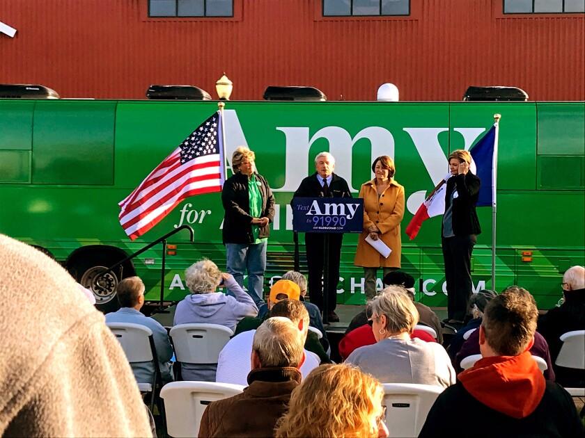 An Amy Klobuchar rally in Cedar Rapids, Iowa.
